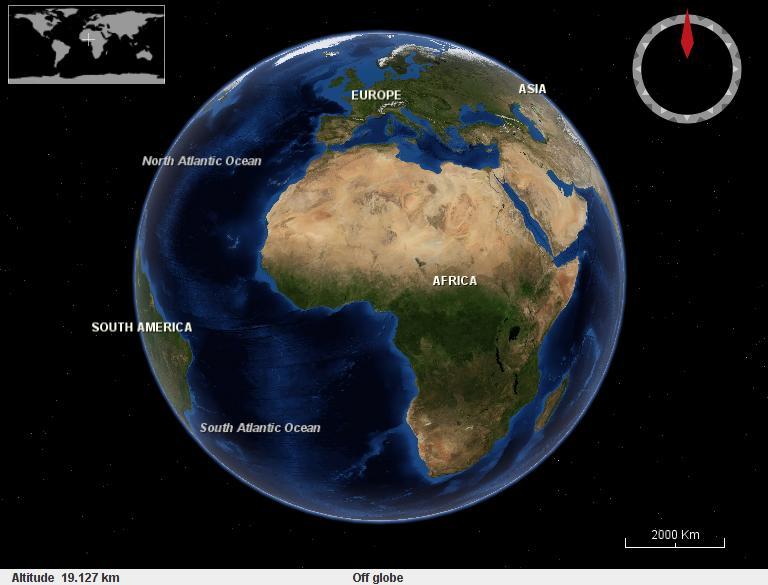 afrika op de wereldbol